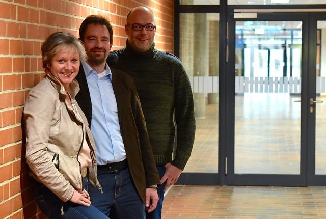Das Schulleitungsteam der Carl-Friedrich-Gauß-Schule Zeven: Fr. Jordan, Hr. Feldmann, Hr. Larink